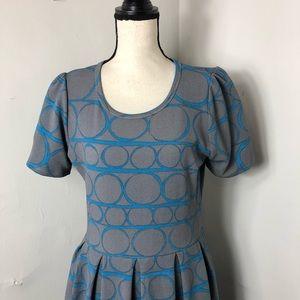 LuLaRoe Dresses - LuLaRoe Grey Blue Circle Print Amelia Dress L